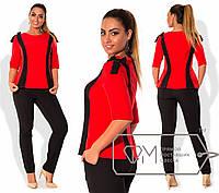 Костюм (блуза со вставками декорированная бантиками на плечах и брюки)