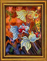 """Схема для вышивания бисером на атласе """"Золотые рыбки. Триптих. Часть 1""""  АЕ-3011"""