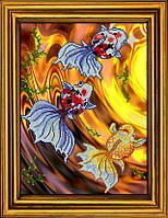 """Схема для вышивания бисером на атласе """"Золотые рыбки. Триптих. Часть 2""""  АЕ-3012"""