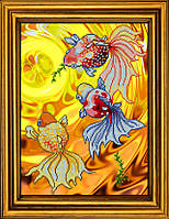 """Схема для вышивания бисером на атласе """"Золотые рыбки. Триптих. Часть 3""""  АЕ-3013"""