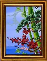 """Схема для вышивания бисером на атласе """"Бамбук счастья. Триптих. Часть 1""""  АЕ-3014"""