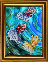 """Схема для вышивания бисером на атласе """"Золотые рыбки в голубой воде. Триптих. Часть 1""""  АЕ-3017"""