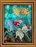 """Схема для вышивания бисером на атласе """"Золотые рыбки в голубой воде. Триптих. Часть 2""""  АЕ-3018"""