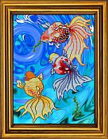 """Схема для вышивания бисером на атласе """"Золотые рыбки в голубой воде. Триптих. Часть 3""""  АЕ-3019"""