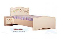 Удобная и надежная кровать «Цветы жизни» без ящиков ТМ «Вальтер - С» Ваниль + венге светлый