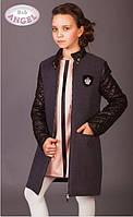 Стильное кашемировое пальто для девочки Baby Angel 698 серого цвета