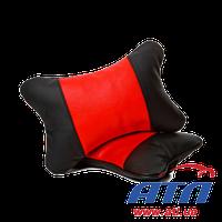 830045 Подушка автомобильная подголовник (черно/красная кожа)