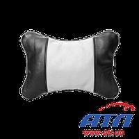 830052 Подушка автомобильная подголовник (черно/белая кожа)