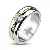 Женское кольцо с золотой полосой над камнем R11861 - уценка