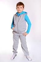 """Спортивный костюм - стеганный жилет+брюки ДМ""""Сашка"""", с бирюзовым декором,  для мальчика"""