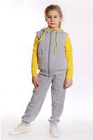 """Спортивный костюм - стеганный жилет+брюки ДМ""""Сашка"""", с желтым декором, для девочки"""