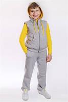 """Спортивный костюм - стеганный жилет+брюки ДМ""""Сашка"""", с желтым декором, для мальчика"""
