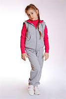 """Спортивный костюм - стеганный жилет+брюки ДМ""""Сашка"""", с малиновым декором, для девочки"""