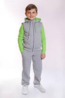 """Спортивный костюм - стеганный жилет+брюки ДМ""""Сашка"""", с салатовым декором, для мальчика"""