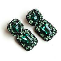 Серьги женские Swarovski Elements зеленые,красивые украшения