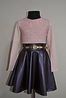 Детское платье, нарядное, для девочки, юбка эко-кожа в сочетании с гипюром, примерно от 6-12лет