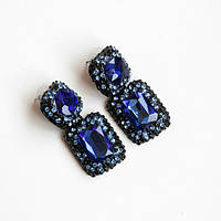 Серьги женские Swarovski Elements синий,модная бижутерия