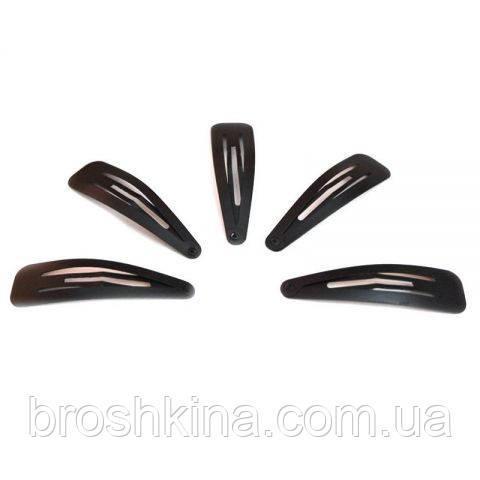 Заколки тик-так черные матовые 5 см 12 шт/уп