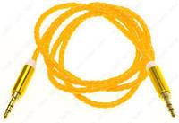 Шнур шт. 3.5 стерео - шт. 3.5 стерео. cетка. gold. 1м.. жёлтый