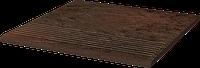Ступень Клинкер Paradyz Semir Brown stopnica ryflowana prosta struktur 30 x 30 x 1,1