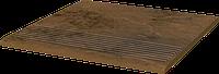 Ступень Клинкер Paradyz Semir Beige stopnica ryflowana prosta struktur 30 x 30 x 1,1