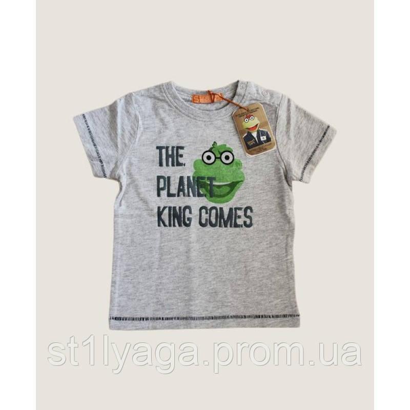 King Comes футболка для мальчика в цвете серый меланж с веселым принтом