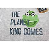 King Comes футболка для мальчика в цвете серый меланж с веселым принтом, фото 3