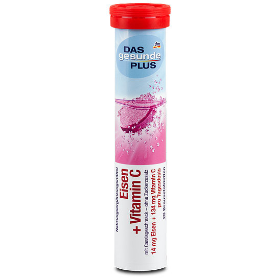 Шипучие витамины DAS gesunde PLUS Eisen + Vitamin C Brausetabletten Витамин С +железо. 20 шт(82 г)