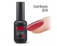 Гель-лак PNB №014 Coral Beauty (кораллово-красный, эмаль), 8 мл