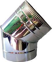 Колено для дымохода из нержавеющей стали (отвод)  (одностенный) d 110мм s 0,5мм α 45°