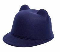 Фетровая кепка жокейка с ушками р. 57 синяя