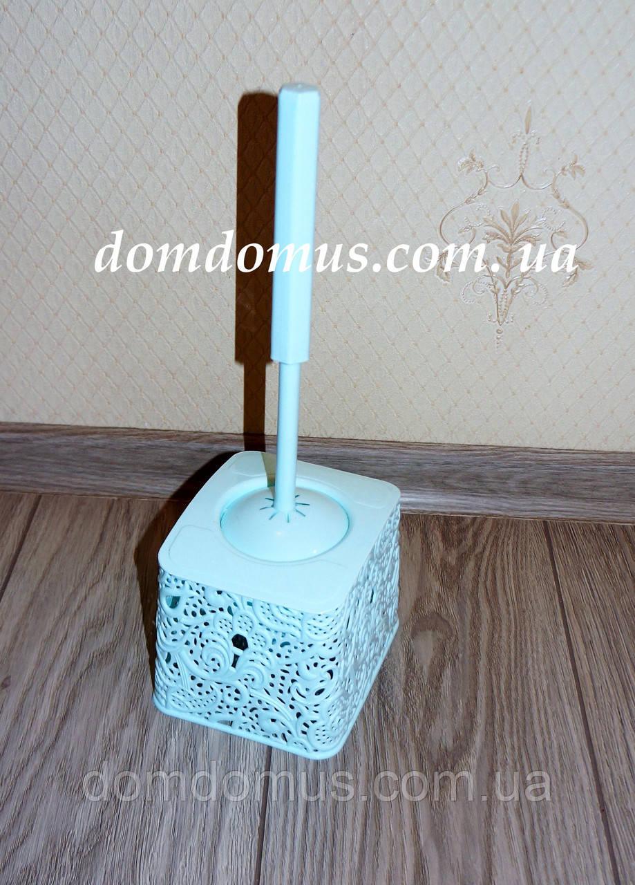 """Комплект для туалету """"Ажур"""" (йоржик з підставкою) м'ятний колір"""