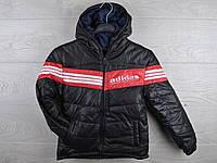 """Куртка подростковая демисезонная """"Adidas"""". 6-10 лет. Черная. Оптом."""