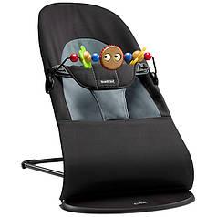 Кресло-шезлонг BabyBjorn Balance Soft Black/Grey+игрушка