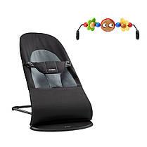 Кресло-шезлонг BabyBjorn Balance Soft Black/Grey+игрушка, фото 3