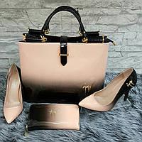 Набор: сумка, кошелек, обувь беж