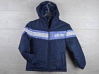 """Куртка подростковая демисезонная """"Adidas"""". 6-10 лет. Темно-синяя+синяя вставка. Оптом."""