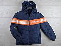 """Куртка подростковая демисезонная """"Adidas"""". 6-10 лет. Темно-синяя+оранжевая вставка. Оптом."""
