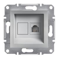 Schneider Electric Asfora Алюминий Розетка телефонная (RJ11) без рамки