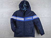 """Куртка подростковая демисезонная """"Adidas"""". 6-10 лет. Темно-синяя+вставка электрик. Оптом."""