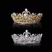 Диадема свадебная корона круглая ТЕОНА серебро