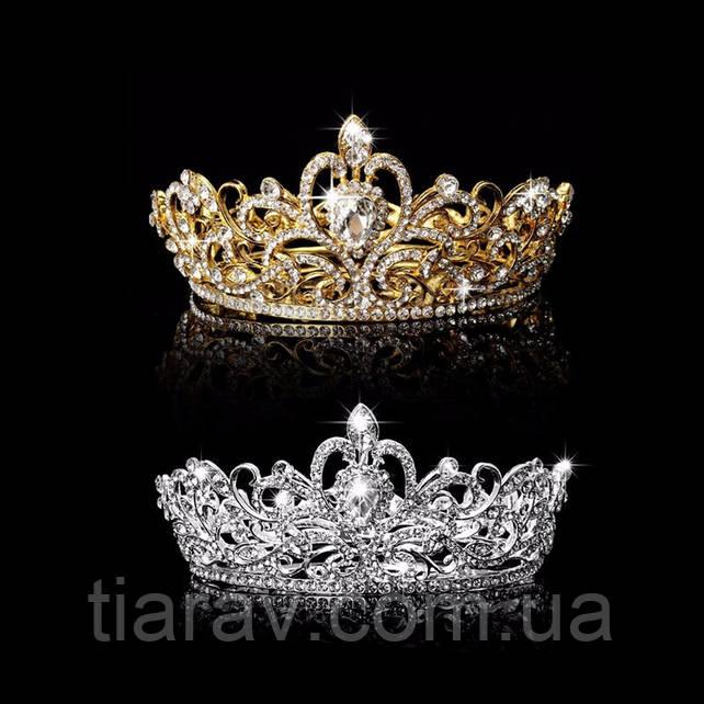 Диадема свадебная корона круглая ТЕОНА серебро Тиара Виктория для волос украшения диадемы свадебные