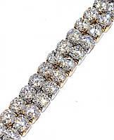 Браслет  Xuping, Камни: белый циркон. Цвет: позолота +родий. Длинна 19 см, ширина 8 мм.