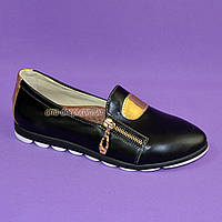Туфли женские кожаные на утолщенной белой подошве, фото 1