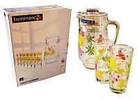 """Набор графин  с стаканами """"Luminarc"""" Crazy Flovers, 6+1,Графины, кувшины, питьевые наборы"""