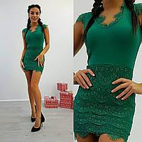 Платье с гипюром мини креп-дайвинг 3 цвета SMdi1101