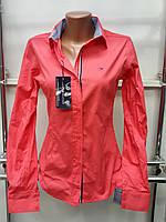 Красивая женская рубашка с длинным рукавом Th 85 кораллового цвета L