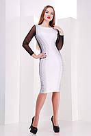 Стильное деловое платье до колена Полоска мелкая сукня Лоя-3КДС д/р