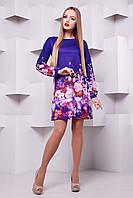 Платье-трапеция фиолетового цвета с цветами Фиолетовый букет сукня Тана-1Ф (креп) д/р