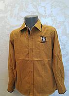 Нарядная рубашка на мальчиков 110,116,122,128 роста Горчица